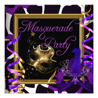 Masquerade Party Masks Wild Gold Purple Custom Announcement