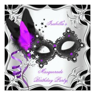 Masquerade Party Purple Silver Black Mask Card
