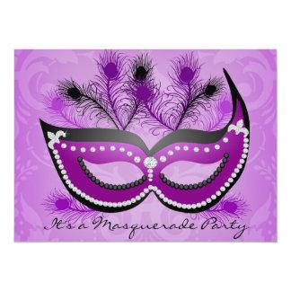 """Masquerade Party Purple Venetian Mask Invitation 5.5"""" X 7.5"""" Invitation Card"""