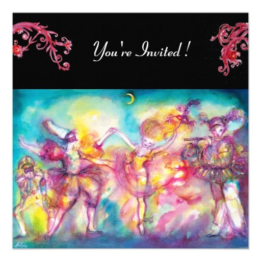 MASQUERADE PARTY,red flourishes Personalized Announcements