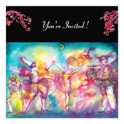 MASQUERADE PARTY ,red flourishes Personalized Announcement