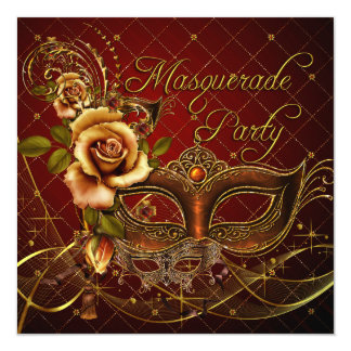 Masquerade Party Red Masks Gold Black Birthday Card