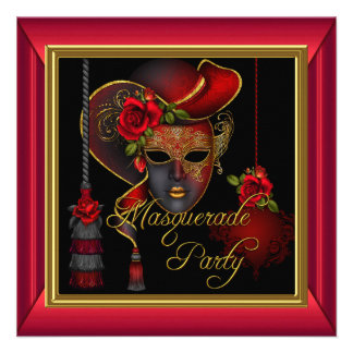 Masquerade Party Red Masks Gold Black Birthday Personalized Invitations