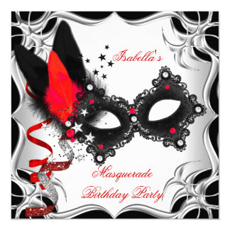 Masquerade Party Red Silver Black Mask Card
