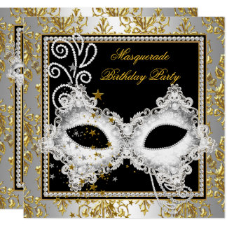 Masquerade Party Silver Gold Damask Black Mask Card