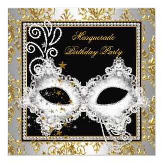 Masquerade Party Silver Gold Damask Black Mask Invitation