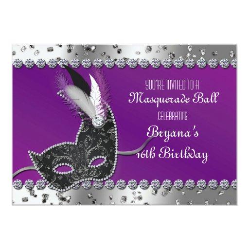 Silver And Purple Blank Invitations: Masquerade Party Silver Purple Birthday Invitation