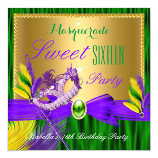 Masquerade Party Sweet 16 Purple Green Gold Card