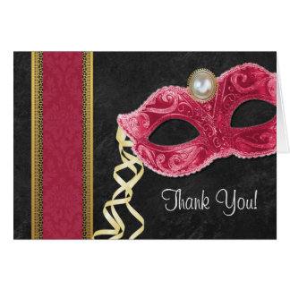 Masquerade Party Thank You Cards - red