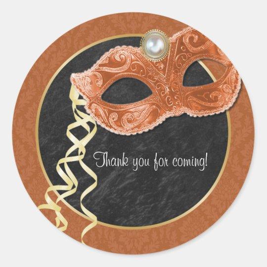 Masquerade Party Thank You Sticker - orange