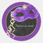 Masquerade Party Thank You Sticker - purple