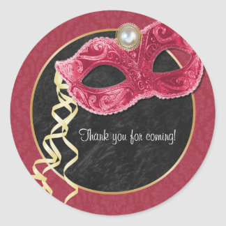 Masquerade Party Thank You Sticker - red