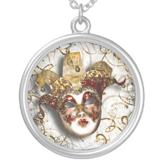 Masquerade party Venetian masked ball Round Pendant Necklace