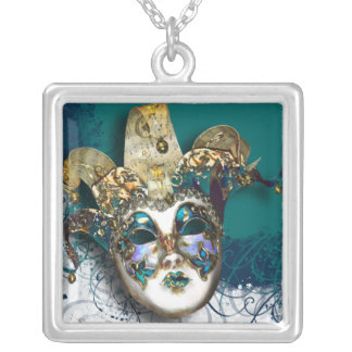 Masquerade party Venetian masked ball Square Pendant Necklace