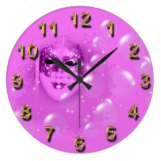 Masquerade pink bubbles clocks