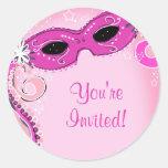 Masquerade Pink Round Sticker