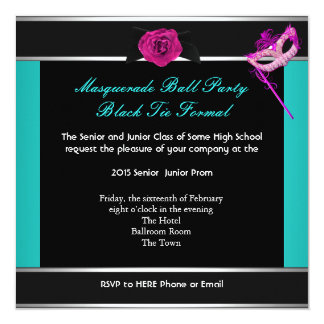 "Masquerade Prom High School Dance Blue Pink 5.25"" Square Invitation Card"