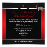 "Masquerade Prom High School Dance Red Black 5.25"" Square Invitation Card"