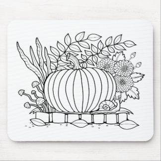 Masquerade Pumpkin Scene Line Art Design Mouse Pad