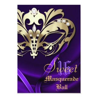 Masquerade Purple Jeweled Sweet 16 Invitation