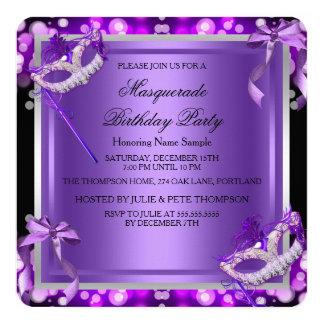 Masquerade Purple Pink Masks Birthday Party 2 5.25x5.25 Square Paper Invitation Card