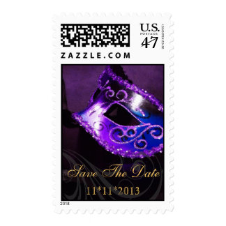 Masquerade Purple Save The Date Party Postage