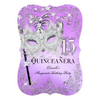 Masquerade Purple Silver Quinceanera Birthday Card