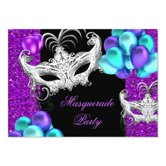 Masquerade Purple Teal Blue Glitter Party Card