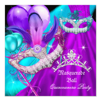 Masquerade Quinceanera 15 Party Masks Teal Purple Card
