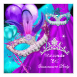 Masquerade Quinceanera 15 Party Masks Teal Purple Invitation