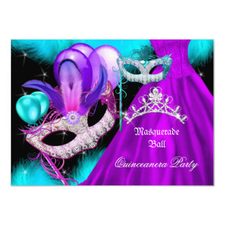 Masquerade Quinceanera 15 Party Teal Purple Card