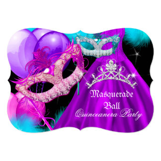 Masquerade Quinceanera 15 Party Teal Purple Pink Card