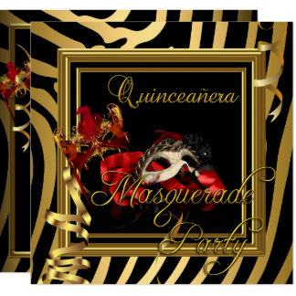 Masquerade Quinceanera 15 Zebra Red Birthday Party Card
