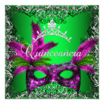 Masquerade Quinceanera 15th Lime Pink Party Custom Invitation