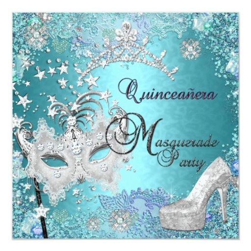 Masquerade Quinceanera 15th Party Blue Tiara Shoe 5.25x5.25 Square Paper Invitation Card