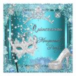 Masquerade Quinceanera 15th Party Blue Tiara Shoe Personalized Invite
