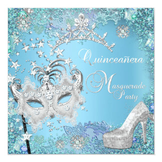 Masquerade Quinceanera 15th Party Blue Tiara Shoe Announcements