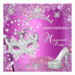 Masquerade Quinceanera 15th Party Pink Tiara Shoe Personalized Announcements