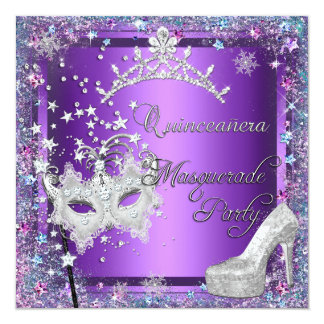 Masquerade Quinceanera 15th Party Purple Tiara Card