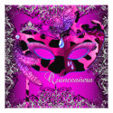 Masquerade Quinceanera 15th Pink Party Announcements