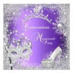 Masquerade Quinceanera 15th Purple Tiara Shoe Custom Invites