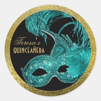 Masquerade quinceañera birthday aqua mask classic round sticker