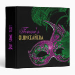 Masquerade quinceañera birthday green, pink mask 3 ring binder