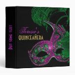 Masquerade quinceañera birthday green, pink mask vinyl binders