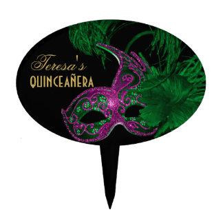 Masquerade quinceañera birthday green, pink mask cake pick