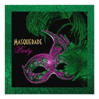 Masquerade quinceañera birthday green, pink mask invitation