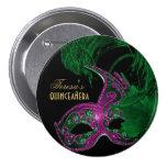 Masquerade quinceañera birthday green, pink mask pinback button