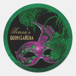 Masquerade quinceañera birthday green, pink mask classic round sticker