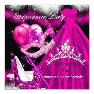 "Masquerade Quinceanera Birthday Party Pink 3 5.25"" Square Invitation Card"