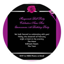 Masquerade Quinceanera Birthday Party Pink Personalized Invitations